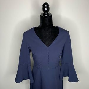 Banana Republic Navy 3/4 Flared Sleeve Dress Sz 4